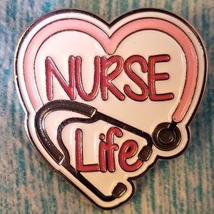 NWT Nurse Life Heart Pin Stethoscope White Red